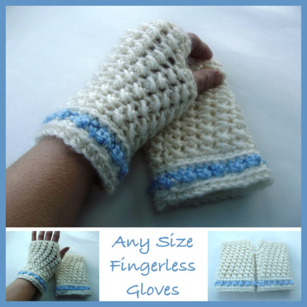 Free Crochet Pattern Childrens Fingerless Gloves : Any Size Fingerless Gloves ~ FREE Crochet Pattern