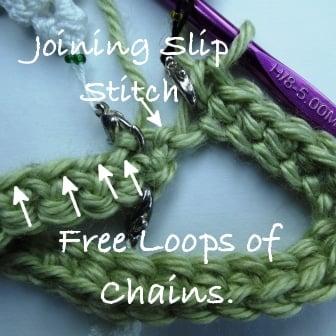 Begin working into first free loop.