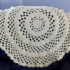 Crochet Patterns In The Round : Lacy Round Baby Blanket ~ FREE Crochet Pattern