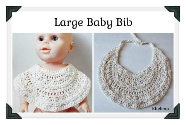 Thread Crochet Baby Bib Pattern : Large Baby Bib ~ FREE Crochet Pattern