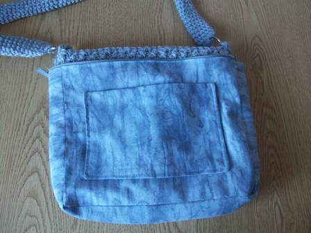 Slipping the Lining Over Crocheted Bag