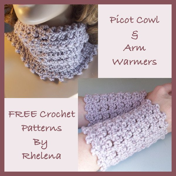 Picot Cowl Arm Warmers Free Crochet Pattern
