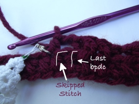 Skipped stitch after the post stitch
