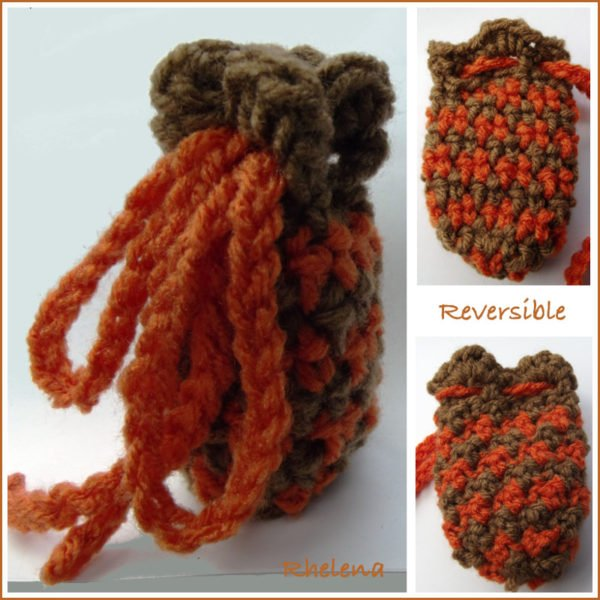 Crochet Small Drawstring Pouch ~ FREE Crochet Pattern Shown in Two Colors.