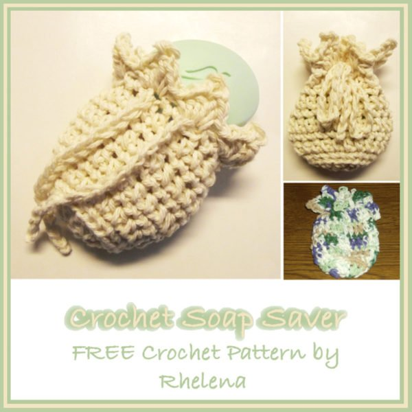 Collage of a crochet soap saver with a drawstring slightly open with a bar of soap.