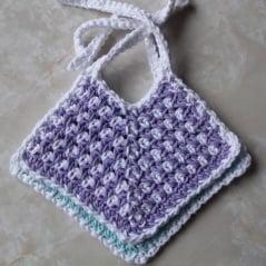 Thread Crochet Baby Bib Pattern : Two-Toned Cotton Baby Bib ~ FREE Crochet Pattern