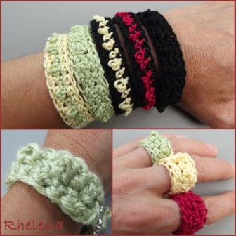Free Crochet Ring Jewelry Patterns : Bead Stitch Bracelet and Ring ~ FREE Crochet Pattern