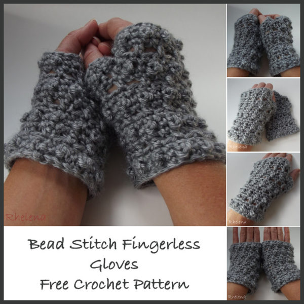 Bead Stitch Free Crochet Fingerless Gloves