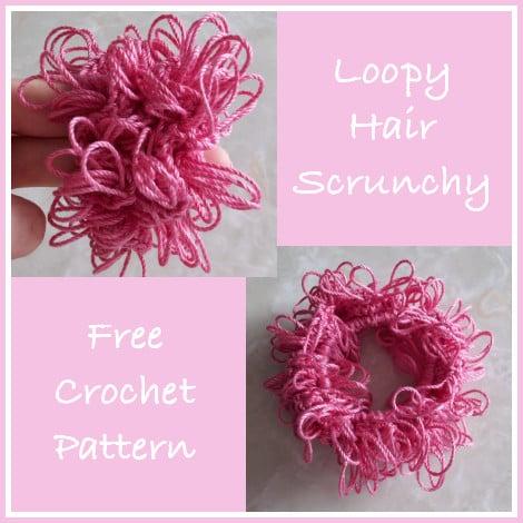 Loopy Hair Scrunchie Free Crochet Pattern