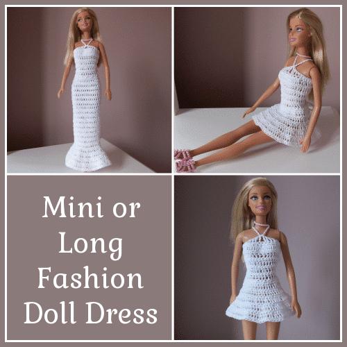 Mini Or Long Crochet Fashion Doll Dress Free Crochet Pattern