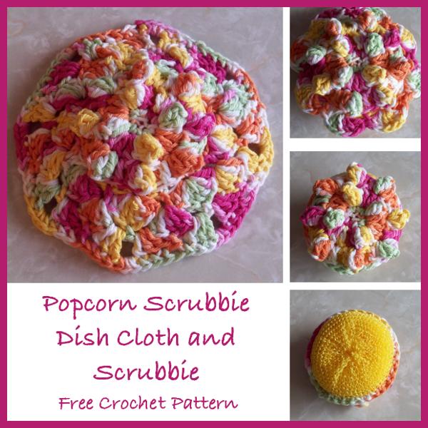 Popcorn Scrubbie Dish Cloth And Scrubbie Free Crochet Pattern