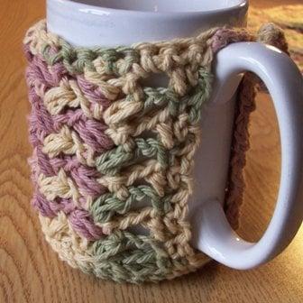 Free Crochet Mug Coaster Pattern : Puff Stitch Mug Cozy ~ FREE Crochet Pattern
