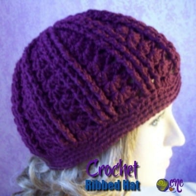 Crochet Ribbed Hat modeled on a mannequin.