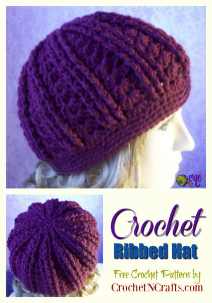 Collage of ribbed hat pattern.