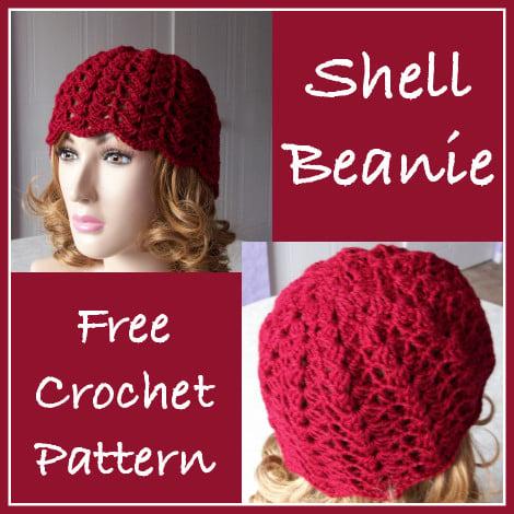 Shell Beanie Free Crochet Pattern