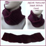 Spiral Textured Seed Stitch Cowl