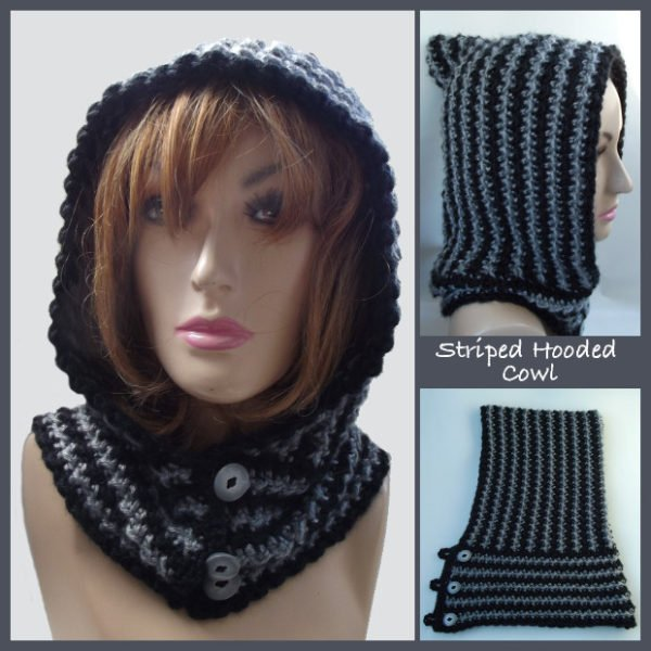 Free Crochet Pattern For A Cowl : Striped Hooded Cowl ~ FREE Crochet Pattern
