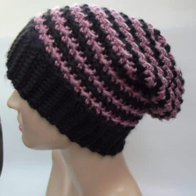 Striped Slouchy Beanie Free Crochet Pattern