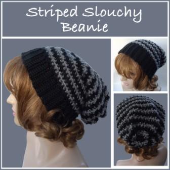 Striped slouchy beanie free crochet pattern striped slouchy beanie dt1010fo