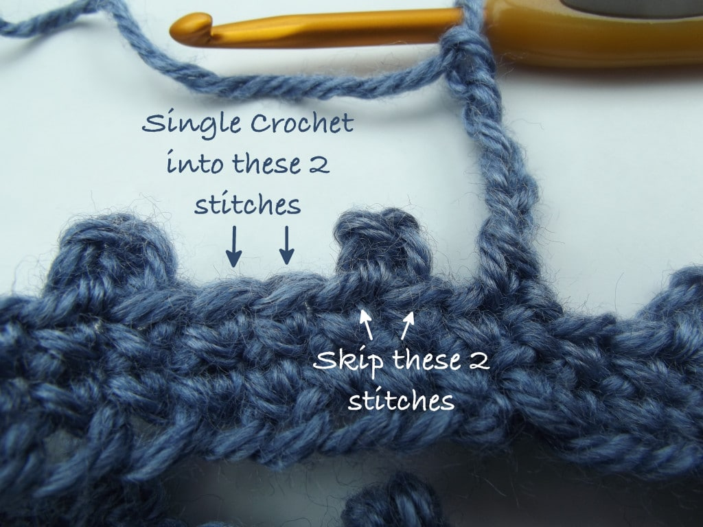 Skip first 2 stitches and single crochet into the next 2