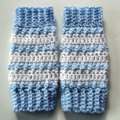 Baby Striped Leg Warmers shown in blue and white.