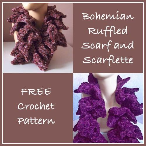 Bohemian Ruffled Scarf and Scarflette - FREE Crochet Pattern
