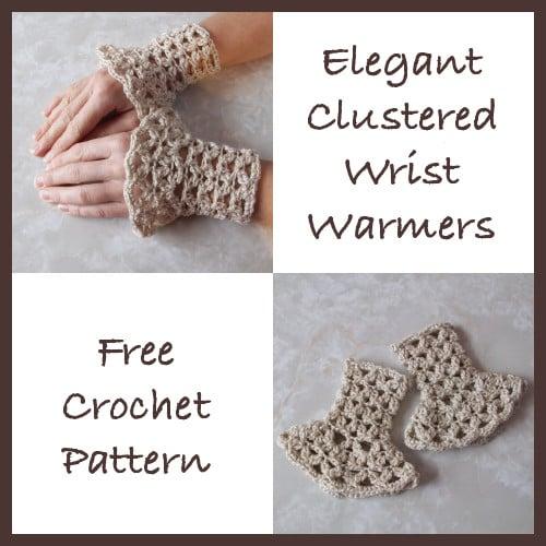 Elegant Clustered Wrist Warmers Free Crochet Pattern