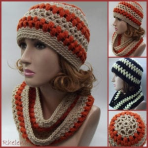 Lace and Puff Stitch Hat and Cowl - Crochet Pattern