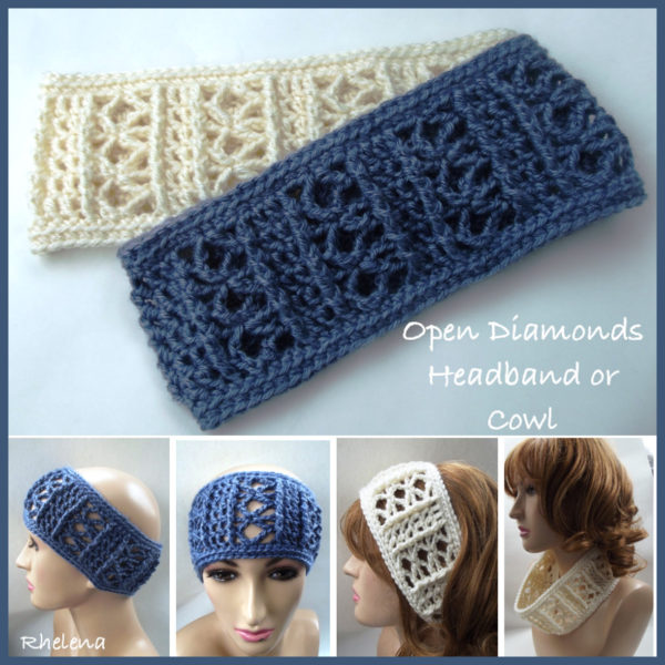 Open diamonds headband or cowl pdf crochet pattern dt1010fo