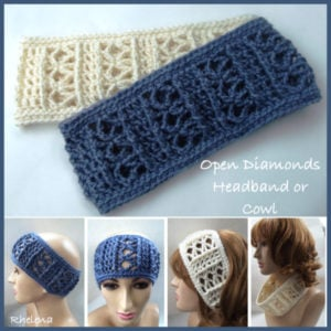 Open Diamonds Wide Crochet Headband Pattern
