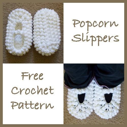 fb13457626195 Popcorn Slippers ~ FREE Crochet Pattern