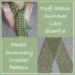 Puff Stitch Summer Lace Scarf - FREE Crochet Pattern