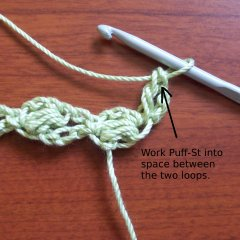 Work Puff Stitch in Top of DC as Indicated