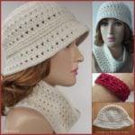 Ribbed Brim Hat, Cowl and Bracelet Pattern