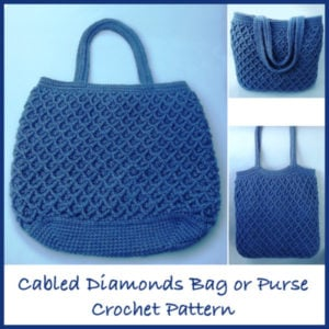 Cabled Diamonds Crochet Bag