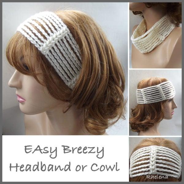 Free Crochet Pattern For Easy Headband : Easy Breezy Headband or Cowl ~ FREE Crochet Pattern