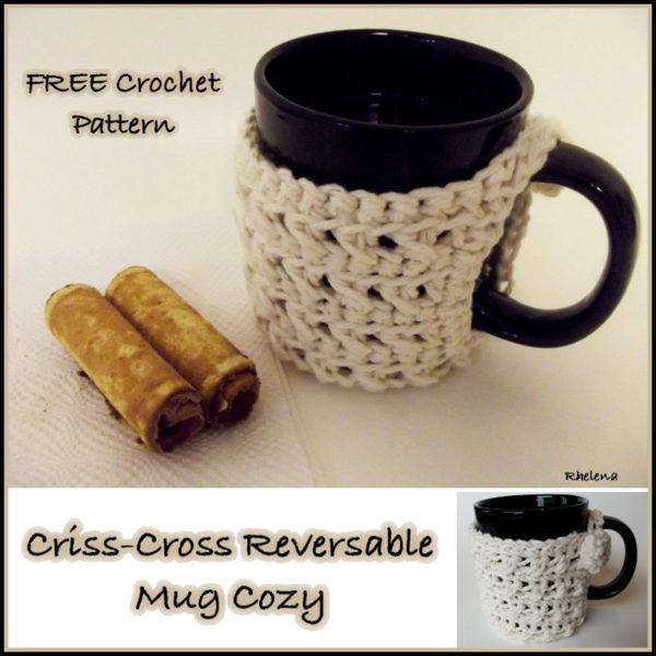Criss-Cross Reversible Mug Cozy ~ FREE Crochet Pattern