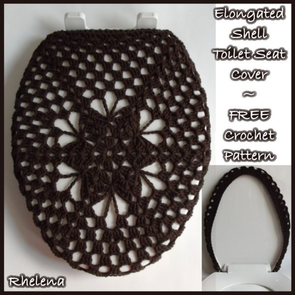 Large Toilet Seat Covers.  Elongated Shell Toilet Seat Cover FREE Crochet Pattern