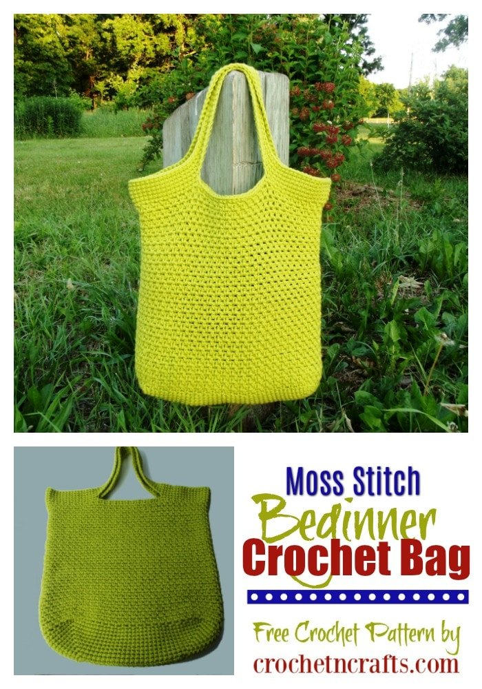 Free crochet pattern for a moss stitch beginner crochet bag. The pattern is not only ideal for beginners, but it's also elegant enough for all skill levels. #freecrochetpattern #bag #crochetncrafts