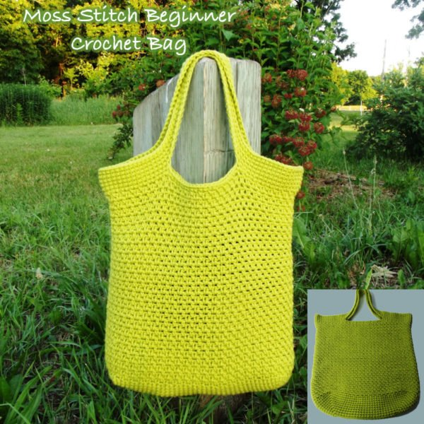 Free Crochet Purse Patterns For Beginners : Moss Stitch Beginner Crochet Bag ~ FREE Crochet Pattern