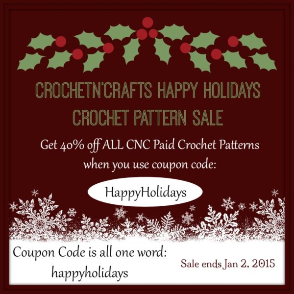 Get 40% off ALL Paid Crochet Patterns with Coupon Code: HappyHolidays