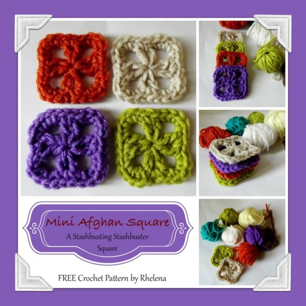 """Mini Afghan Square ~ A free pattern for a cute crochet tiny square with only 2"""" across."""