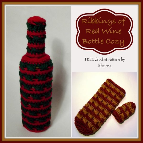 Ribbing of Red Wine Bottle Cozy ~ FREE Crochet Pattern