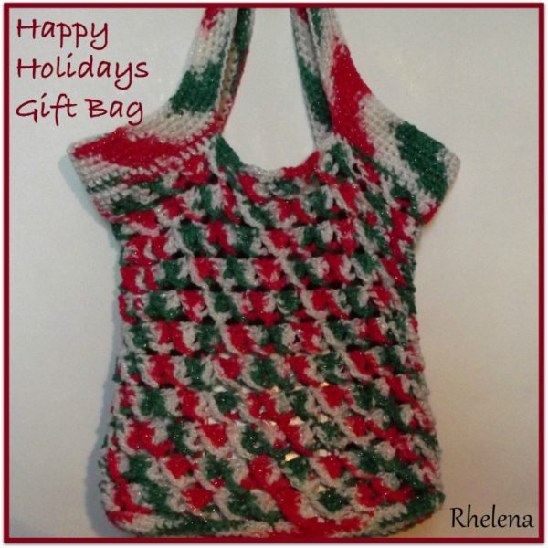 Free Crochet Pattern For Gift Bags : Happy Holidays Gift Bag ~ FREE Crochet Pattern