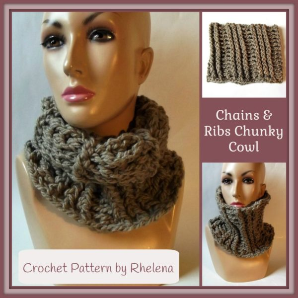 Chains and Ribs Chunky Cowl ~ FREE Crochet Pattern