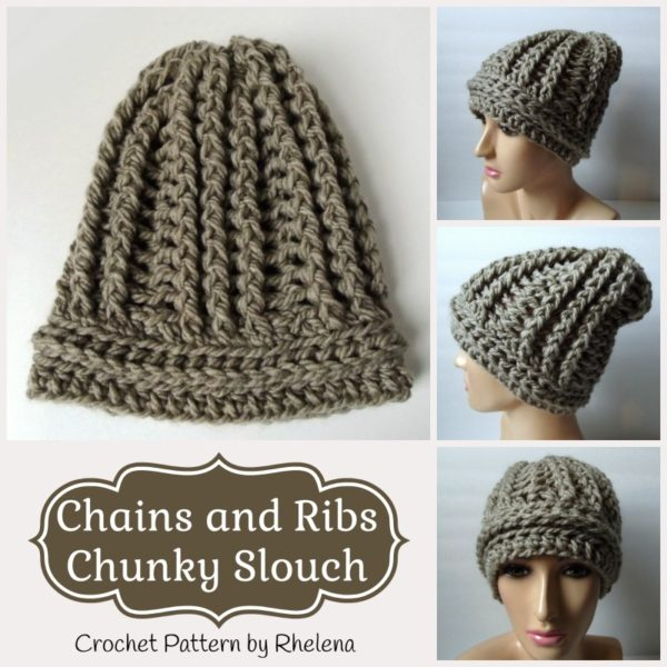 Chains and Ribs Chunky Slouch ~ FREE Crochet Pattern