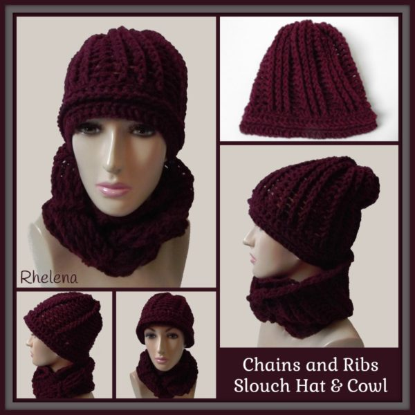 Chains and Ribs Slouch Hat & Cowl ~ FREE Crochet Pattern