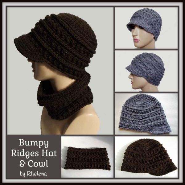 Bumpy Ridges Hat and Cowl ~ FREE Crochet Pattern