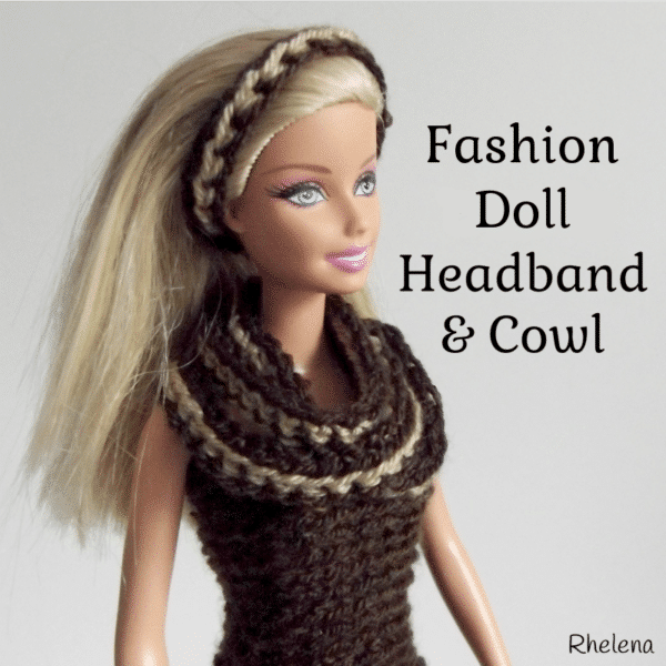 a1c250c968a Simple Striped Headband and Cowl for the Fashion Doll - CrochetN Crafts