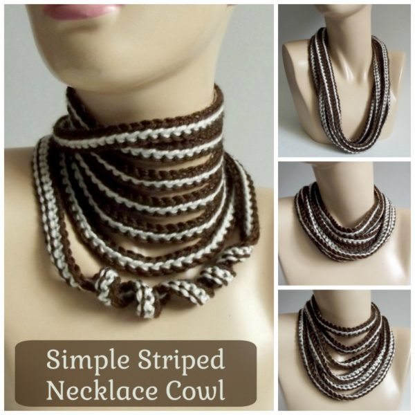 Simple Striped Necklace Cowl ~ FREE Crochet Pattern